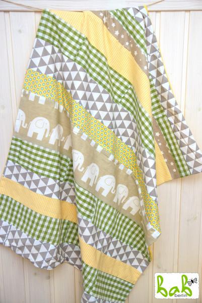 Babydecke, Kinderdecke, Kuscheldecke Patchwork mit Fleece in Gelb Grün Beige