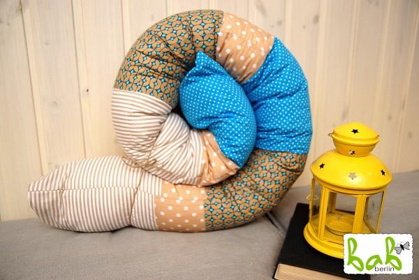 Nestchenschlange, Nestchenrolle, Lagerungskissen in Blau/ Beige fürs Babybett Handmade in Berlin