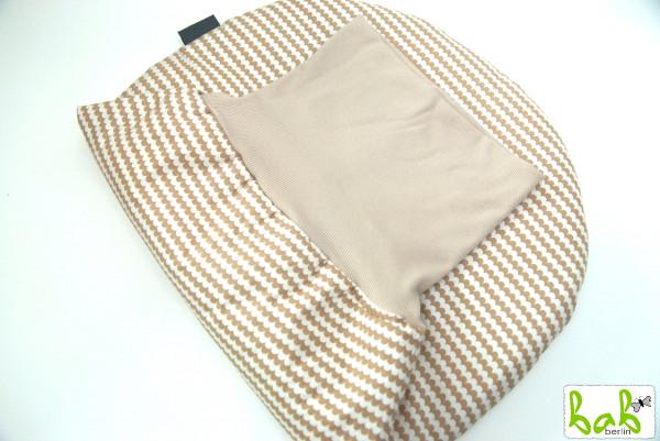 Strampelsack Baby 0-6 Monate Pucksack Schlafsack gefüttert oder ungefüttert Beige Wellen