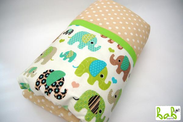 Krabbeldecke, Spieldecke und Laufgittereinlage 105 x 105 cm weich gepolstert Beige Grün mit Elefante