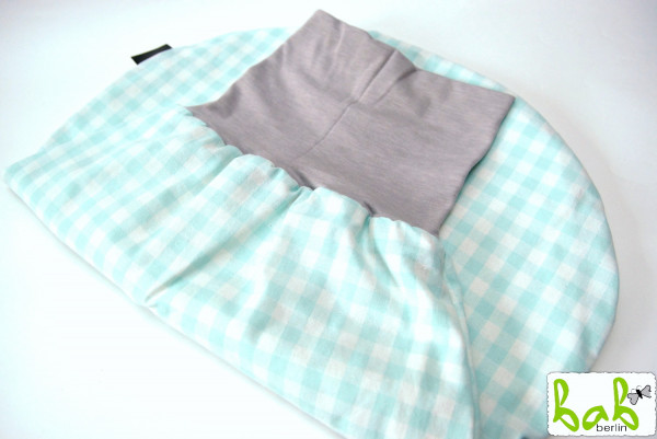 Strampelsack Baby 0-6 Monate Pucksack Schlafsack gefüttert oder ungefüttert Karo Mint