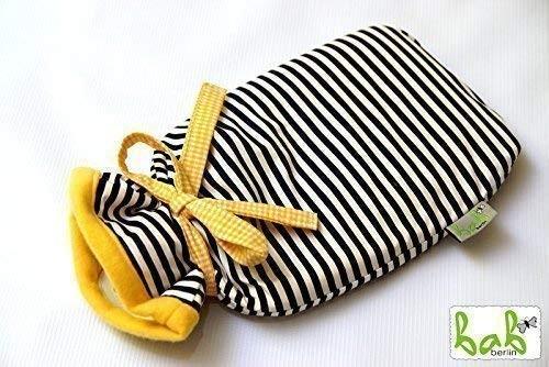 Wärmflasche mit Bezug, Handmade Wärmflaschenbezug in Gelb/Schwarz mit Streifen