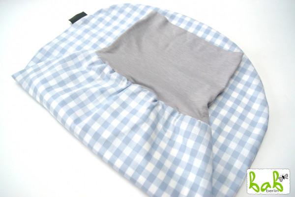 Strampelsack Baby 0-6 Monate Pucksack Schlafsack gefüttert oder ungefüttert in Hellblau Karo