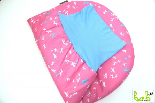 Strampelsack Baby 0-6 Monate Pucksack Schlafsack gefüttert oder ungefüttert Rosa Libellen