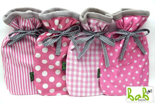 Handmade Wärmflaschenbezug doppelseitig, Wärmflaschenhülle von bab-Berlin-pink