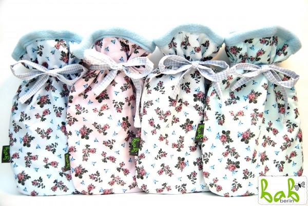 Wärmflaschenbezug, Wärmflaschenhülle mit Blumen, optional mit Wärmflasche