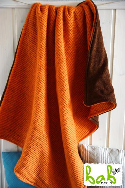 Babydecke aus Wolle, Kuscheldecke, Kinderdecke in Orange Braun 70 x 90 cm