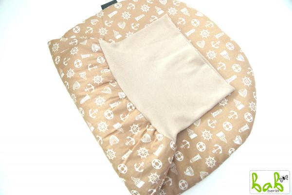 Strampelsack Baby 0-6 Monate Pucksack Schlafsack gefüttert oder ungefüttert Beige Steuerrad