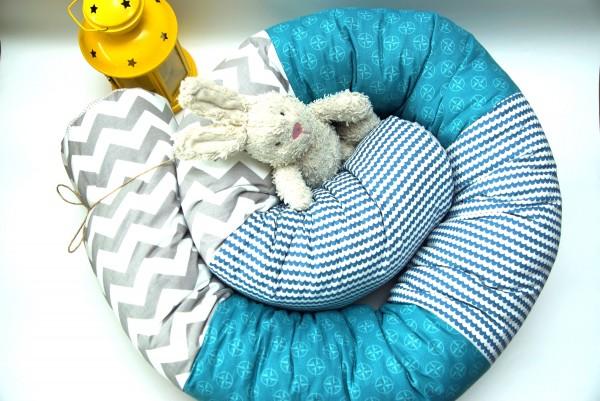 Puckschnecke, Baby Nestchen, Bettrolle in Blau/Grau 200 cm lang abnehmbar